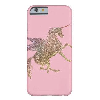 Hübscher Goldrosa-Glitzer-Schein-FliegenUnicorn Barely There iPhone 6 Hülle