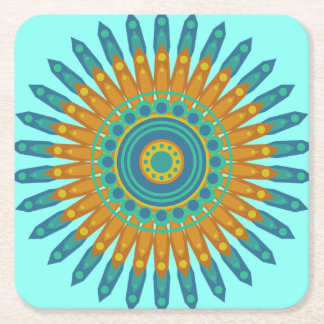 Hübscher mystischer Mandala-aquamarine und orange Rechteckiger Pappuntersetzer