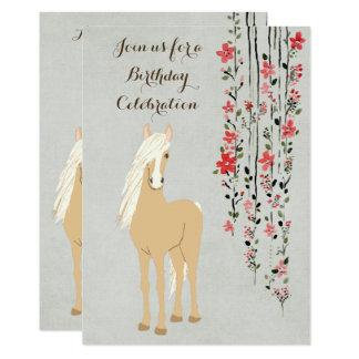 Hübscher Palomino-Pony-Blumen-Pferdegeburtstag 12,7 X 17,8 Cm Einladungskarte