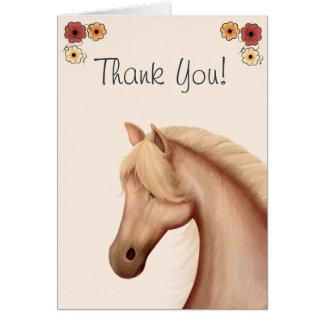 Hübscher Palomino und Blumen-Pferd danken Ihnen zu Karte