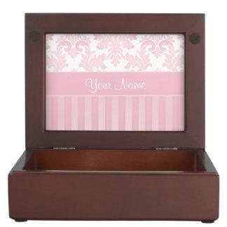 Hübscher personalisierter rosa Damast und Streifen Erinnerungsdose