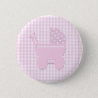 Hübscher rosa Baby-Mädchen-Vintager Wagen Runder Button 5,7 Cm