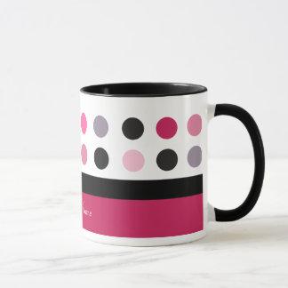 Hübscher rosa u. weißer kundengerechter Entwurf Tasse