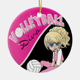 Hübscher rosa Volleyball-Diva-Mädchen-Spieler Keramik Ornament