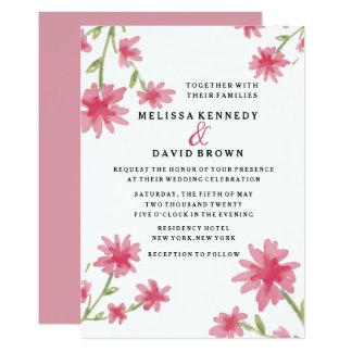 Hübscher rosa Watercolor-Blumenhochzeit Karte