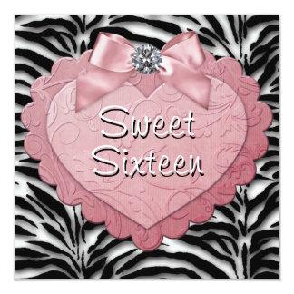 Hübscher rosa Zebra-Bonbon 16 Geburtstags-Party Quadratische 13,3 Cm Einladungskarte