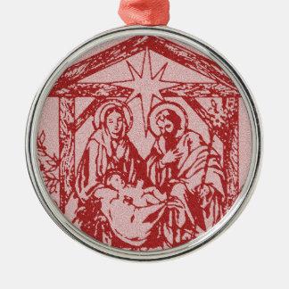 Hübscher roter Nativity Silbernes Ornament