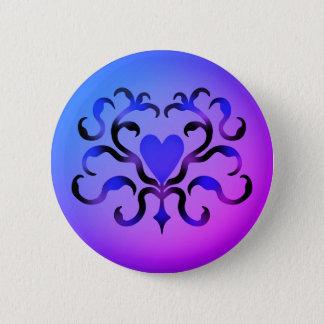 Hübsches blaues Herz Runder Button 5,7 Cm