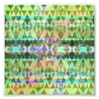 Hübsches böhmisches grünes Stammes- Pastellmuster Photodrucke