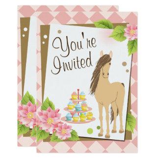 Hübsches Brown-Pferd, rosa Blumen-Geburtstag laden Karte