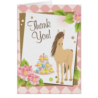 Hübsches Brown-Pferd und rosa Blumen danken Ihnen Karte