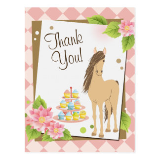 Hübsches Brown-Pferd und rosa Blumen danken Ihnen Postkarte