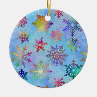 Hübsches buntes Schneeflocke-Weihnachtsmuster Keramik Ornament