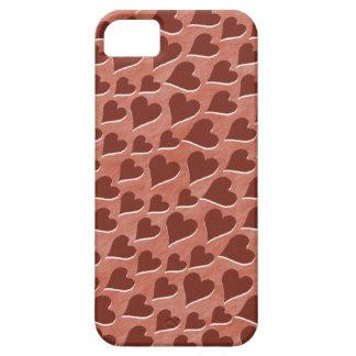 Hübsches eingebettetes rotes Herz-Muster-Rosa iPhone 5 Schutzhüllen