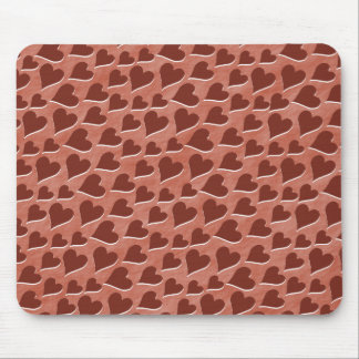 Hübsches eingebettetes rotes Herz-Muster-Rosa Mousepads