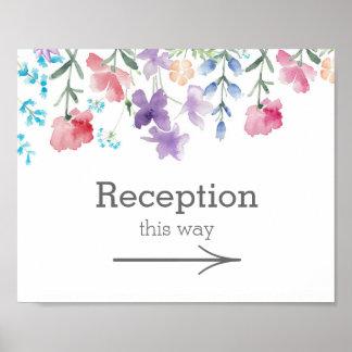 Hübsches Garten-Hochzeits-Empfangs-Zeichen der Poster