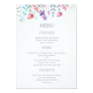 Hübsches Garten-Hochzeits-Menü 12x18 der 12,7 X 17,8 Cm Einladungskarte