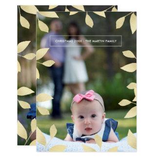 Hübsches Imitat-Gold verlässt WeihnachtsFoto 12,7 X 17,8 Cm Einladungskarte