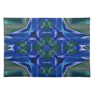 Hübsches königliches Blau-Kreuz-Form-Muster Stofftischset