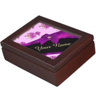 Hübsches malvenfarbenes lila Vintages Blumenmuster Erinnerungsdose