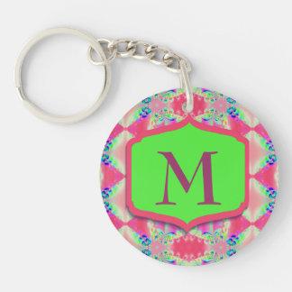 Hübsches Monogramm-Rosa-Grün-Muster Schlüsselanhänger