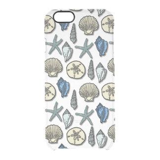 Hübsches Muschelstarfish-Seemuster Durchsichtige iPhone 6/6S Hülle