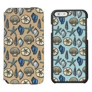 Hübsches Muschelstarfish-Seemuster im Blau und im Incipio Watson™ iPhone 6 Geldbörsen Hülle