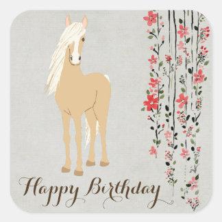 Hübsches Palomino-Pony-Blumen-Pferdealles Gute zum Quadratischer Aufkleber