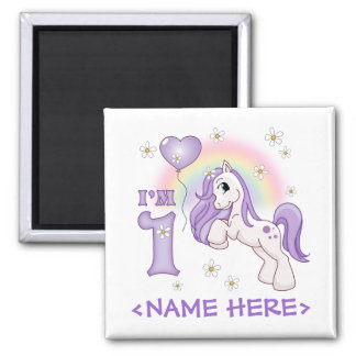 Hübsches Pony-erster Geburtstag Quadratischer Magnet