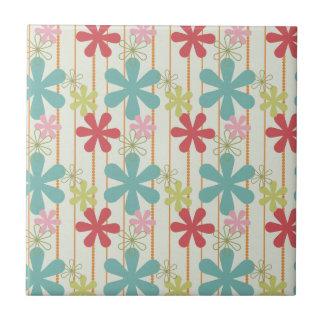 Hübsches Retro buntes Wand-Blumen-Streifen-Muster Kleine Quadratische Fliese