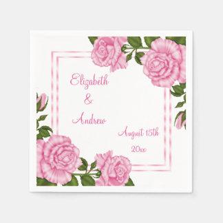 Hübsches rosa Eckblumensträuße Wedding/Verlobung Serviette