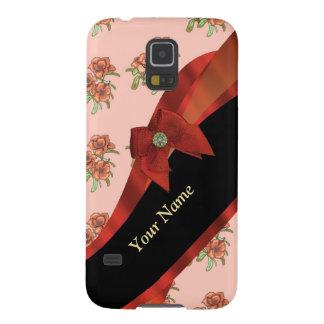 Hübsches rotes Vintages BlumenBlumenmuster Samsung S5 Hüllen