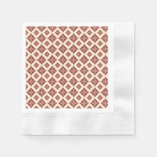Hübsches rustikales rotes Vintages Damast-mit Papierservietten