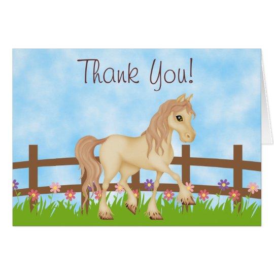 Hübsches Sahnepferd und Blumen danken Ihnen Mitteilungskarte