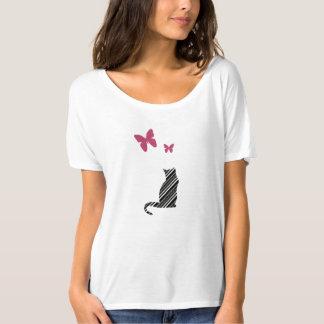 Hübsches Schmetterlings-und Katzen-T-Shirt T-Shirt