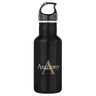 Hübsches schwarzes modernes Goldmonogramm-modische Trinkflasche
