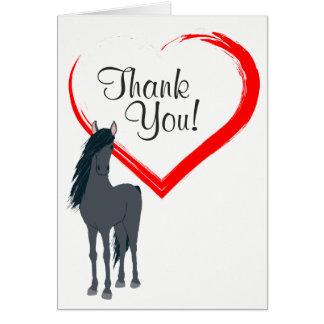 Hübsches schwarzes Pferd und rotes Herz danken Mitteilungskarte