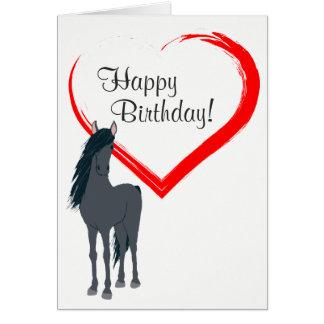 Hübsches schwarzes Pferde-und rotes Herz-alles Grußkarte