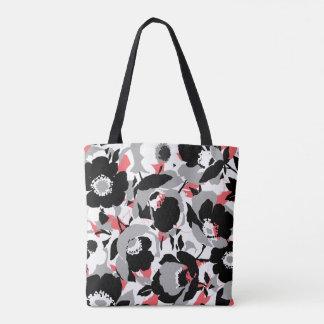 Hübsches schwarzes, weißes u. korallenrotes tasche