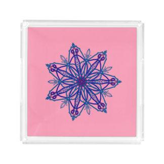 Hübsches Singleschneeflocke-Sternkaleidoskop auf Acryl Tablett