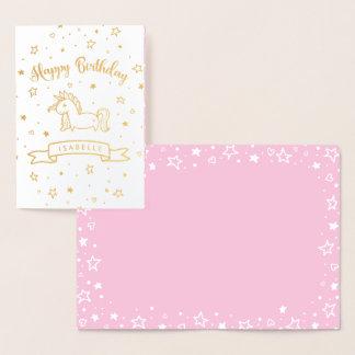 Hübsches Unicorn-Gold u. rosa alles Gute zum Folienkarte