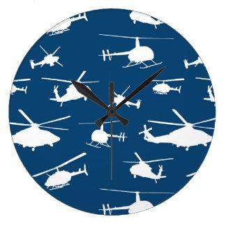 Hubschrauber-Silhouette-//-Marine-Blau // Große Wanduhr