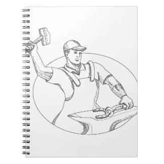 Hufschmied-ausübende Hammer-ovale Gekritzel-Kunst Notizblock
