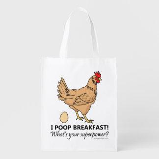Huhn kackt Frühstücks-lustigen Entwurf Wiederverwendbare Einkaufstasche