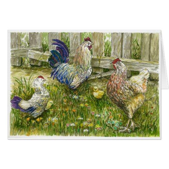 Huhnfamilie Grußkarte