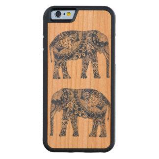 Hülle des Telefons des Holzes mit Elefanten