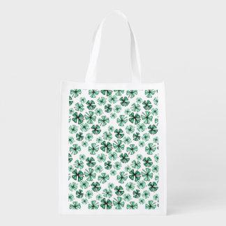 Hülsen-grüner glücklicher Kleeblatt-Klee Wiederverwendbare Einkaufstasche