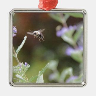 Hummel-Biene Quadratisches Silberfarbenes Ornament