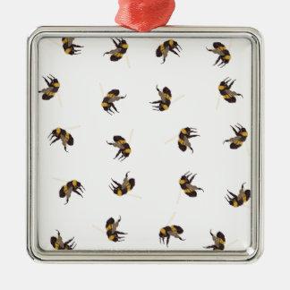 Hummel-Bienen Quadratisches Silberfarbenes Ornament