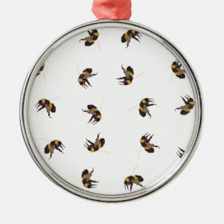Hummel-Bienen Rundes Silberfarbenes Ornament